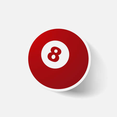 fifteen: Paper clipped sticker: billiard ball with number. Isolated illustration icon Illustration