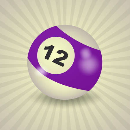 a 12: set of billiard balls, billiards, American ball number 12