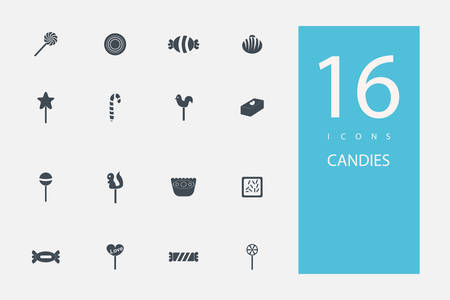 confectionery: collection of icons in style flat gray color on  topic candy, sweets Illustration