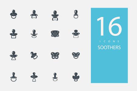 pezones: colecci�n de iconos de color gris plana de estilo en los pezones tema Vectores