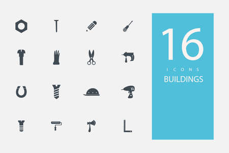 building materials: collection of icons in style flat gray color on  topic  building materials