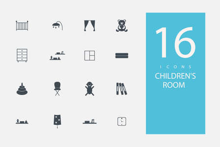 castle interior: collection of icons in style flat gray color on topic childrens room