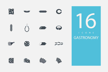 deli meat: collection of icons in style flat gray color on  topic meat
