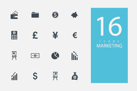keywords link: collection of icons in style flat gray color on  topic marketing