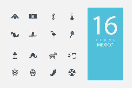 enchiladas: collection of icons in style flat gray color on  topic Mexico