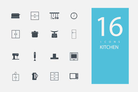 measuring spoon: collection of icons in style flat gray color on  topic kitchen