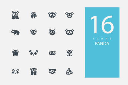 small group of animal: collection of icons in style flat gray color on  topic panda