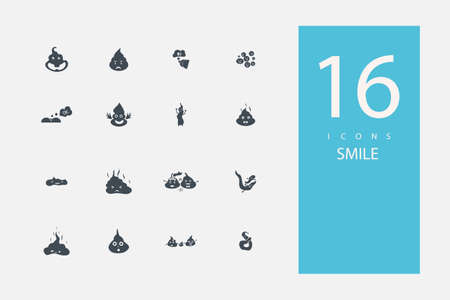 collection of icons in style flat gray color on  topic feces