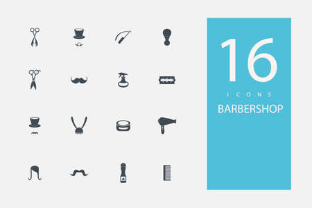 barbershop: collection of icons in style flat gray color on  topic barbershop