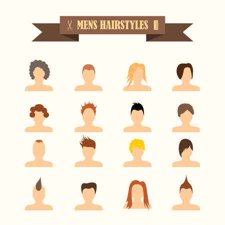 men's: multicolored icons with tape on the topic mens hairstyles