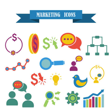 keywords link: multicolored icons with tape on the topic marketing