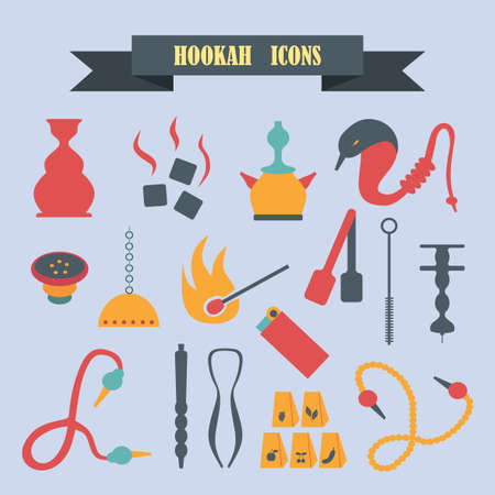 multicolored icons with tape on the topic hookah