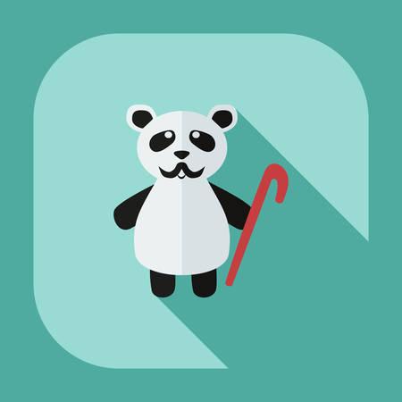 Flat modern design with shadow icons panda old man
