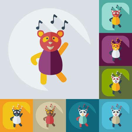 main idea: Flat modern design with shadow icons panda dances
