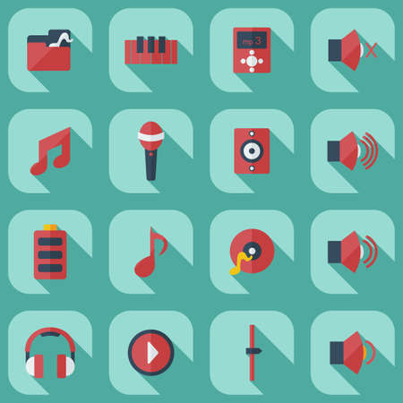 instruments: Flat modern design with shadow icons music Illustration