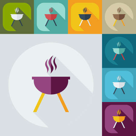 barbecues: Flat concept, set modern design with shadow barbecues