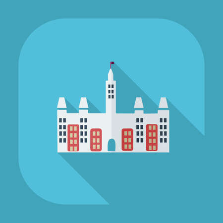 social marketing: Flat modern design with shadow icons castle Canada