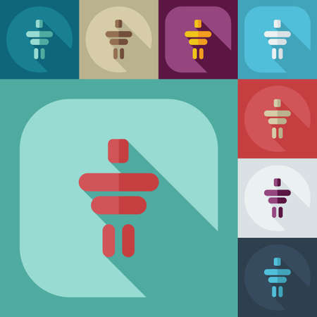 Flat modern design with shadow icons Inukshuk