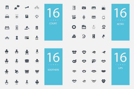 nursing bottle: stylish set of 4 themes and icons