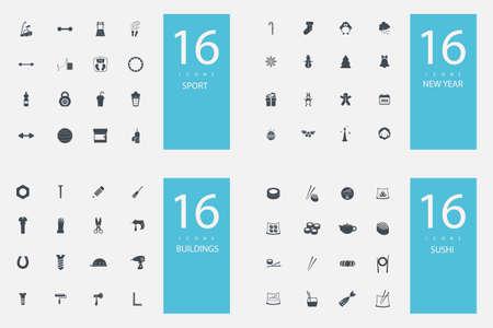 balon de voley: conjunto con estilo de 4 temas e iconos Vectores