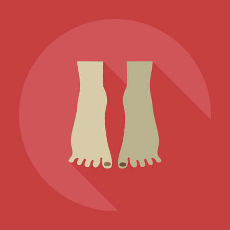 toenail: Flat modern design with shadow icons pedicure