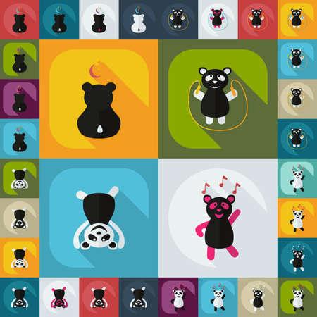 Flat concept, set modern design with shadow panda Illustration