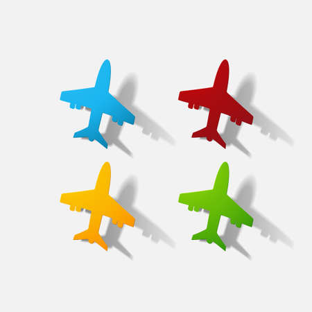 airliner: Paper clipped sticker: aircraft airliner. Isolated illustration icon
