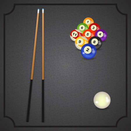 billiards cue: set of billiard balls, billiards, American with cue Illustration