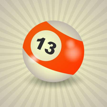 13: set of billiard balls, billiards, American ball number 13 Illustration