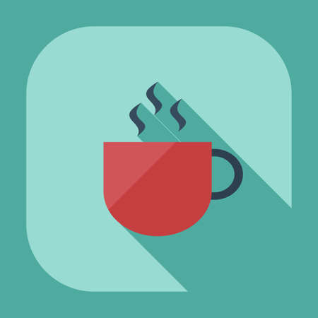 contemporary taste: Flat modern design with shadow icons, coffee Illustration