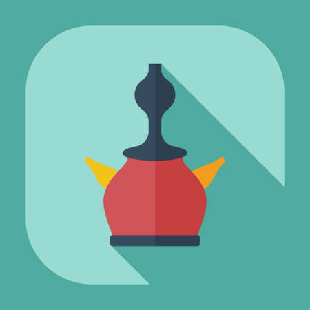 hooka: Flat modern design with shadow icons, parts of hookah Illustration