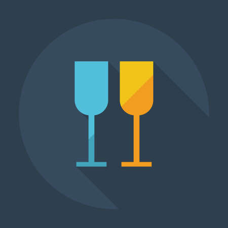 wineglass: Flat modern design with shadow icons, wineglass