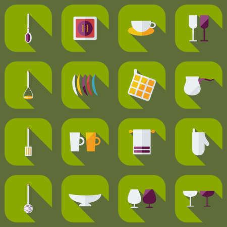 modern kitchen: Flat modern design with shadow icons, kitchen