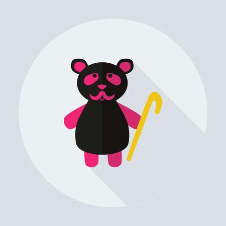 glum: Flat modern design with shadow icons, panda old man Illustration