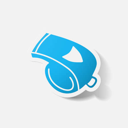 clipped: Paper clipped sticker: whistle. Isolated illustration icon Illustration