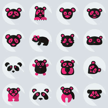 Flat concept, set modern design with shadow, pandas