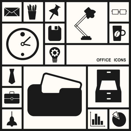 documents circulation: Flat concept, set modern design with shadow, office icons