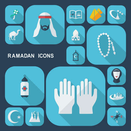 mohammad: Flat concept, set modern design with shadow, Ramadan icons