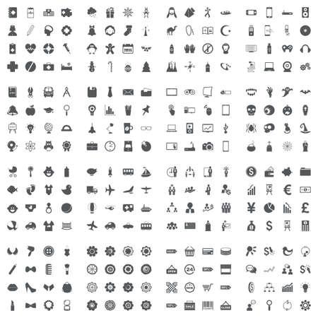 Large icons set. illustration of flat