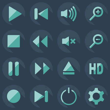 music player: Flat modern design with shadow icon, music player