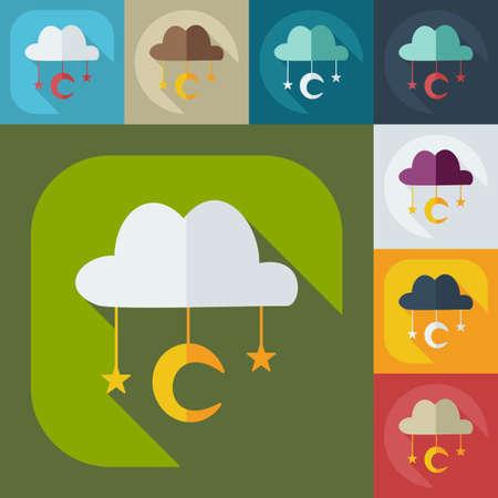 mohammedan: Flat modern design with shadow icons, Muslim heaven