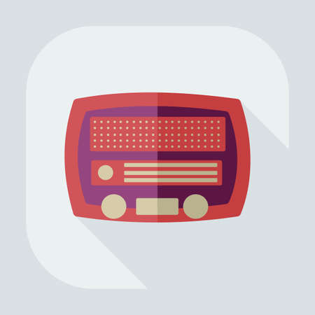 old radio: Flat modern design with shadow, old radio Illustration