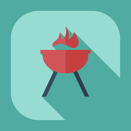 grilling: Flat modern design with shadow icons barbecue Illustration