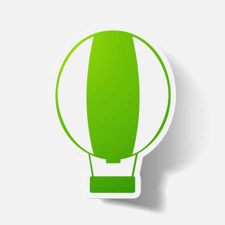 aerostat: Paper clipped sticker: aerostat. Isolated illustration icon