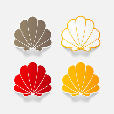scallop shell: Realistic paper sticker: shell. Isolated illustration icon