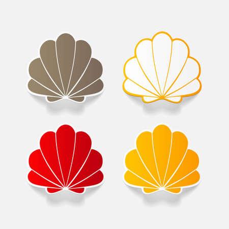 Realistische papier sticker: shell. Geïsoleerde illustratie pictogram