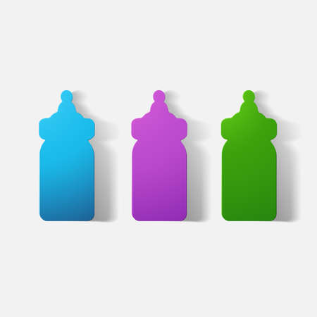 message bottle: Paper clipped sticker: baby bottle. Isolated illustration icon