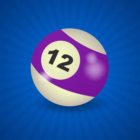 number 12: set of billiard balls, billiards, American ball number 12