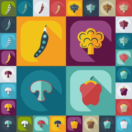 assemblage: Flat concept, set modern design with shadow vegetables