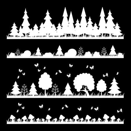 white wood: composition of white wood on black background trees flat style